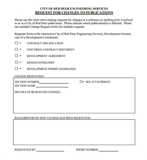 process change request form template sle change request 7 documents in pdf word