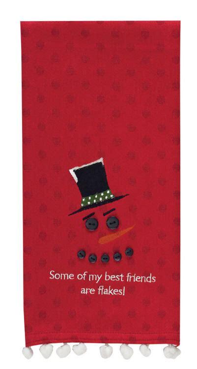 friends  flakes christmas kitchen towel dishtowel