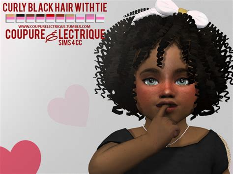 black curly hair sims 4 curly black hair with tie by coupure electrique sims 4 nexus