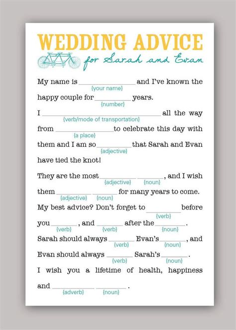 Wedding Advice by Diy Printable Wedding Mad Libs Wedding Advice