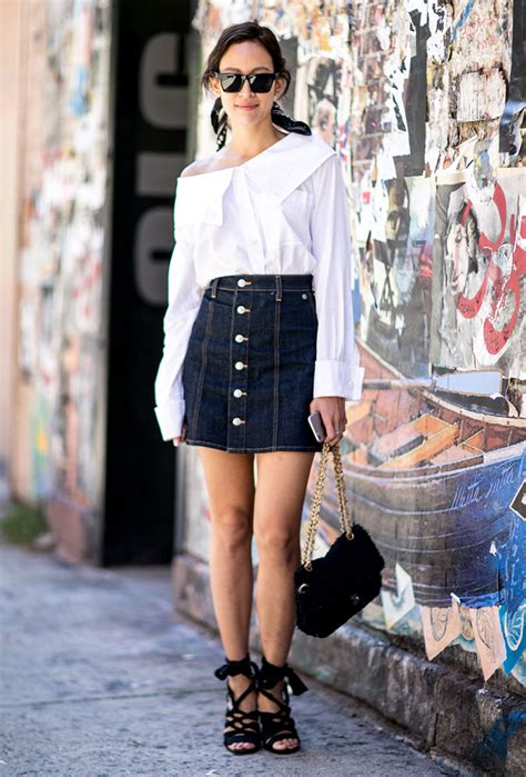 how to wear a denim skirt 13 to copy now dressed up