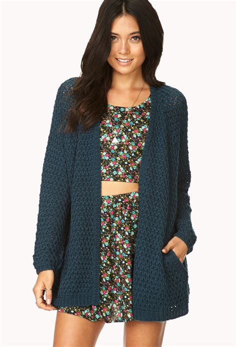 Cardigan Forever 21 Lyst Forever 21 Easy Open Front Cardigan In Blue