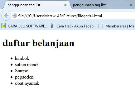 membuat ul html cara membuat daftar list di html tag ol ul dan li