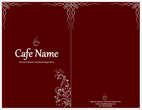 cafe menu template word templates