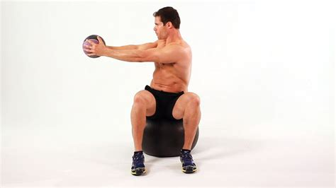 seated twist  exercise ball ab workout youtube