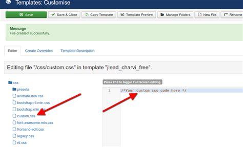 custom code settings joomlead