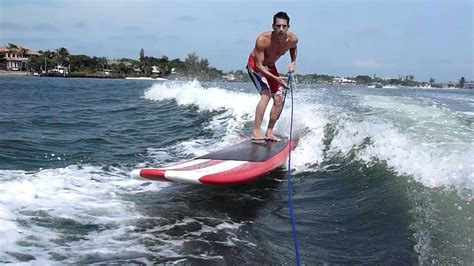 sup boat sup fun on a boat wake youtube