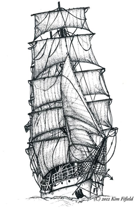 drawn sailing ship pencil and in color drawn sailing ship