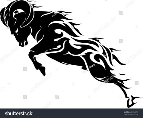the rams free aries element ram symbol stock vector 401284279