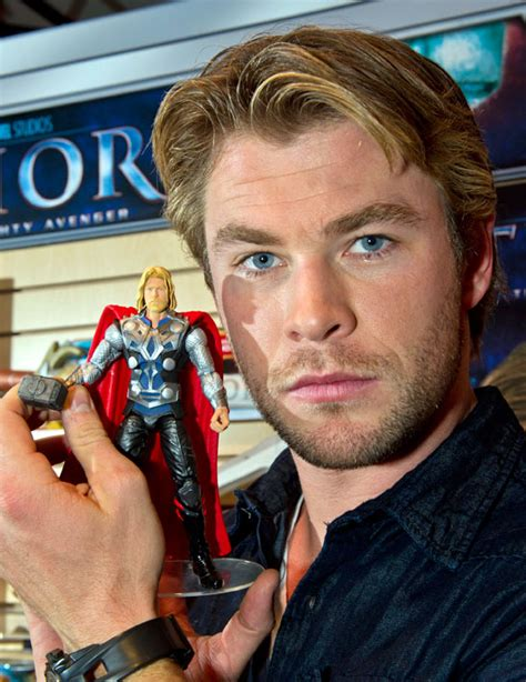 chris hemsworth on captain america movie where was the photos see thor and captain america fondle their toy