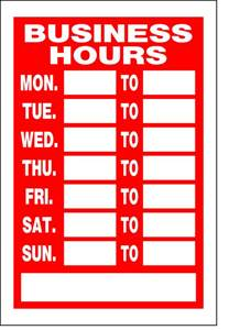 Business Hours Sign Template by Object Moved