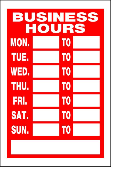 28 business hours sign template word 6 best images
