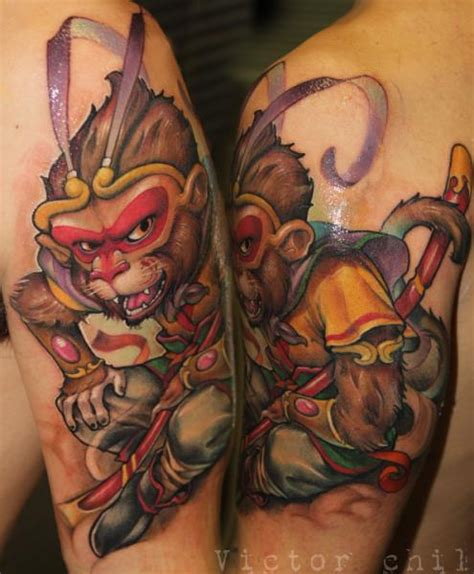 victor tattoo arm monkey by victor chil
