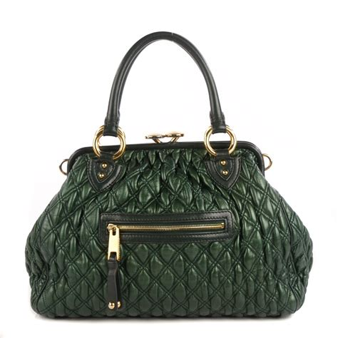 Minnillo And Marc Quilted Stam by Marc Calfskin Quilted Stam Green 114326