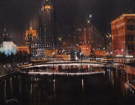 paint nite milwaukee milwaukee river lights painting by tom shropshire