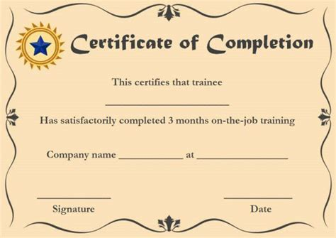 certificate of ojt completion template certificate of completion 22 templates in word format