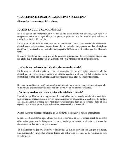 Modelo Curricular Gimeno Sacristan Cultura Academica Resumen De Gimeno Sacrist 225 N Y 193 Ngel P 233 Rez G 243 Mez