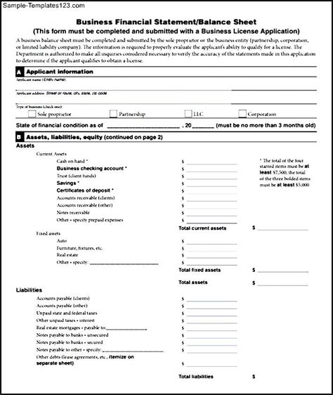 business financial statement template simple business financial statement form sle