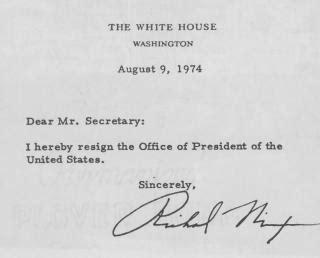 Richard Nixon Resignation Letter