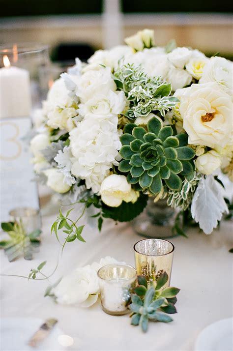 ivory wedding centerpieces ivory and succulent centerpiece elizabeth