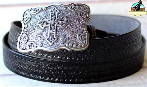Handcrafted Western Belts - black handmade basket weave tool western leather mens belt