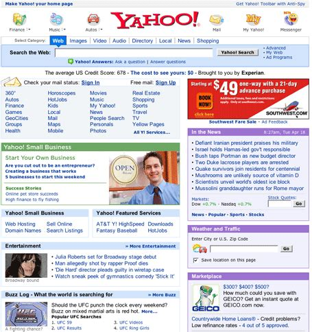 layout yahoo yahoo testing new home page layout techcrunch