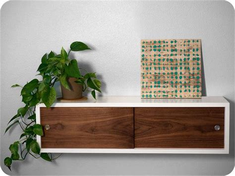 Floating Shelf Cabinet with Walnut Sliding Doors   Mid