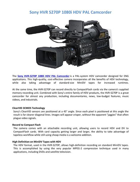 Sony Hvr S270p sony hvr s270p 1080i hdv pal camcorder by topend