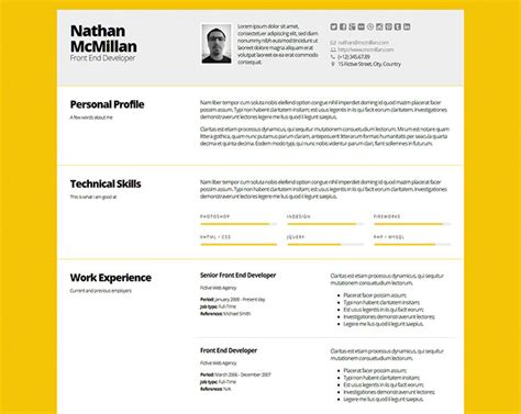 design cv using html 50 professional html resume templates web graphic