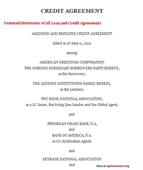 Credit Payment Agreement Template Credit Agreement Sle Credit Agreement Template