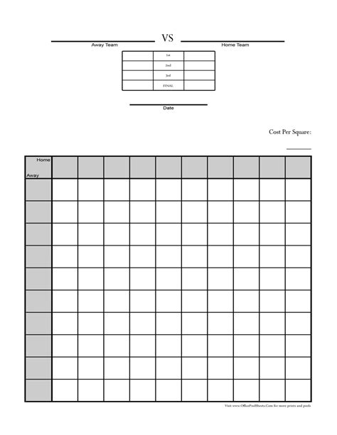 block pool template 100 square football pool sheet bowl block template