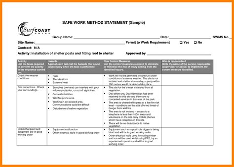 safe work method statement template images template