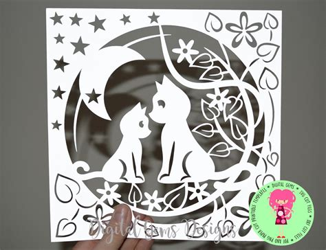 Silhouette Birthday Card Template by And Child Cat Papercut Template Svg Dxf Cutting