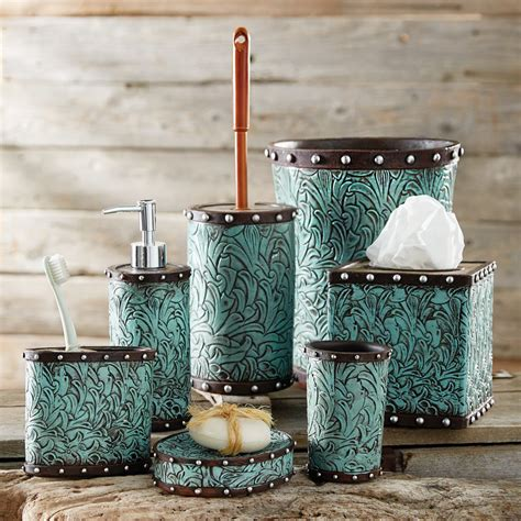 Turquoise Bathroom Accessories Tooled Turquoise Flowers Bath Accessories