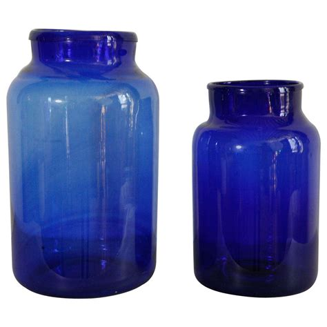 Glass Jars And Vases by Italian Blown Glass Jars Cobalt At 1stdibs