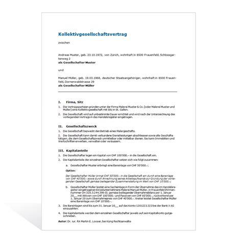 Muster Vorsorgeauftrag Schweiz mustervertrag kollektivgesellschaft