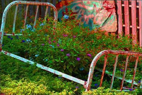 recycling metal bed frames  flower beds  creative