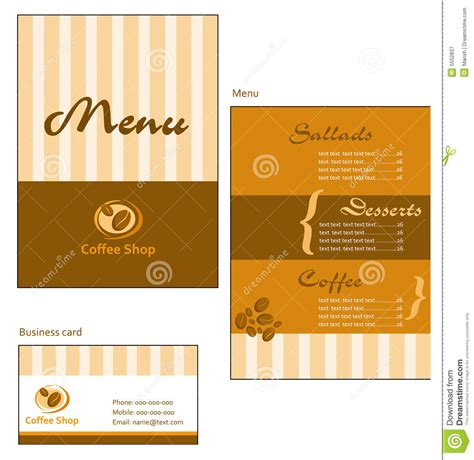 business menu template template designs of menu and business card for cof royalty