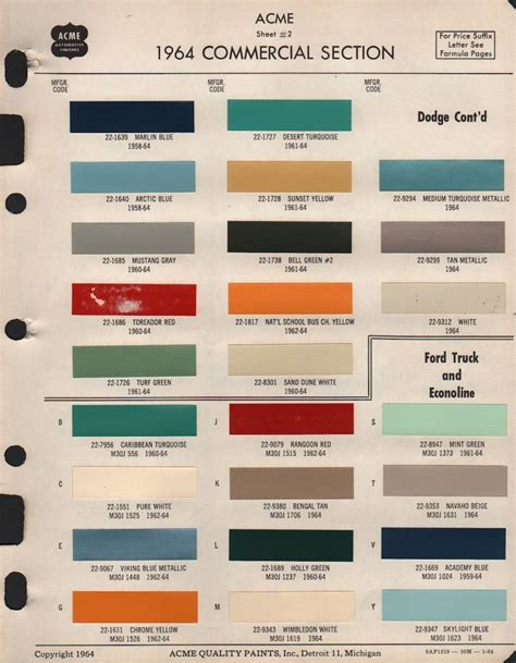 ford paint colors paint chips 1964 ford truck camaro 68