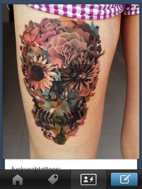 skull with flowers tattoo flowers skull mod of sorts