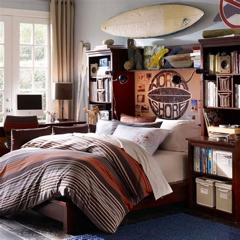 older boys surfing themed bedroom in earthy colors