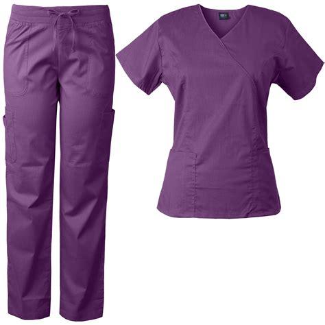 comfort scrubs medgear women s stretch scrubs set mock wrap top