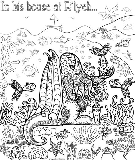 cthulhu colouring page