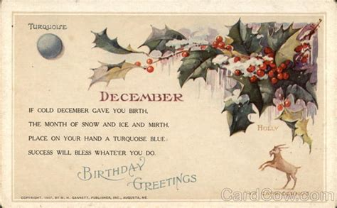 December Birthday Cards Birthday Greetings For December With Holly Turquoise