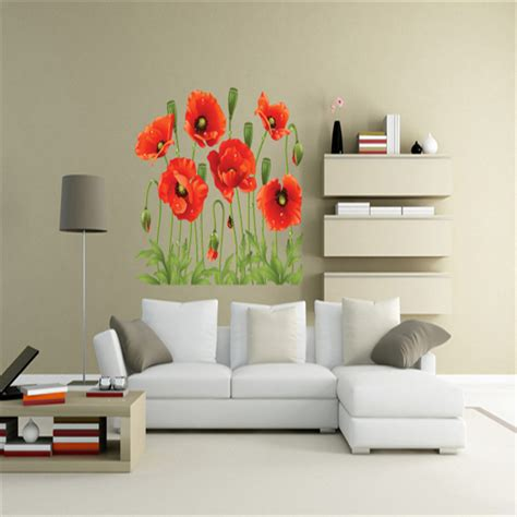 Home Decor Discount Discount 2015 New Poppy Removable Wall Decals Home Decor Flower Vinyl Mural