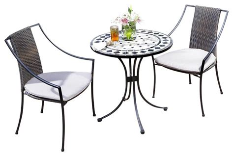 Small Patio Table And 2 Chairs Home Styles Marble Bistro Table 2 Chairs In Black Gray Transitional Patio Furniture And