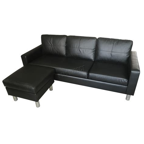 L Shaped Sofa With Chaise Lounge Foxhunter Modern Pu L Shaped Corner 3 Seater Sofa With Chaise Longue Pls01 Black Ebay