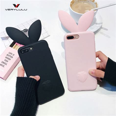 Bunny Iphone X Coque Silicone 3d Bunny Rabbit Ears Back Phone