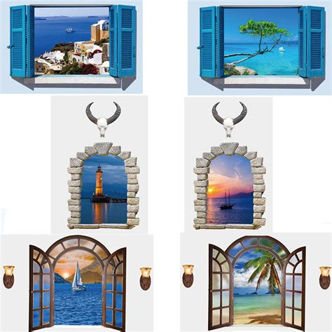 6 style brand new 3d sea window scenery large wall sticker