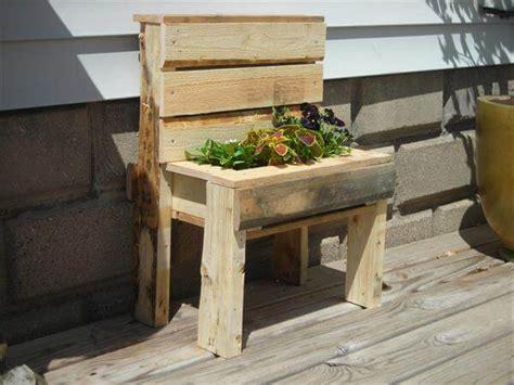 wooden planter bench pallet wood garden bench planter 101 pallets